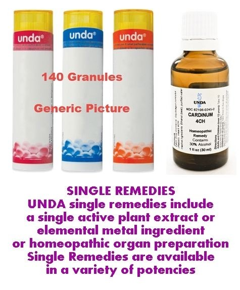 UNDA Single Remedies - Plant Extract, Elemental & Organotherapy  - All Products - All Sizes