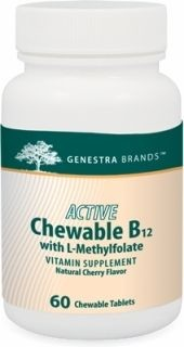 Active Chewable B12 + Methylfolate  60tabs  by Genestra